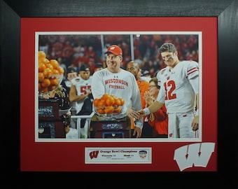 Wisconsin Badgers 2017 Orange Bowl Champions Custom Frame Photo