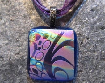Fused Glass Pendant with Ribbon necklace: Etched Purple Fun