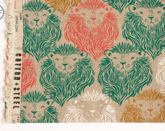 August CANVAS Monarch in Coral and Teal, Sarah Watts, Cotton+Steel, RJR Fabrics, Cotton and Linen Blend Canvas Fabric, 2007-012