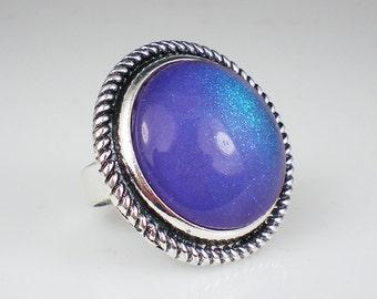 Lavender Teal Glitter Nail Polish Ring Periwinkle Purple Glitter Statement Jewelry