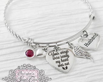 Memorial Jewelry, Bracelet, Remembrance Gifts, Dad Memorial, In loving memory, Your wings were ready my heart was not, wing, BANGLE Bracelet