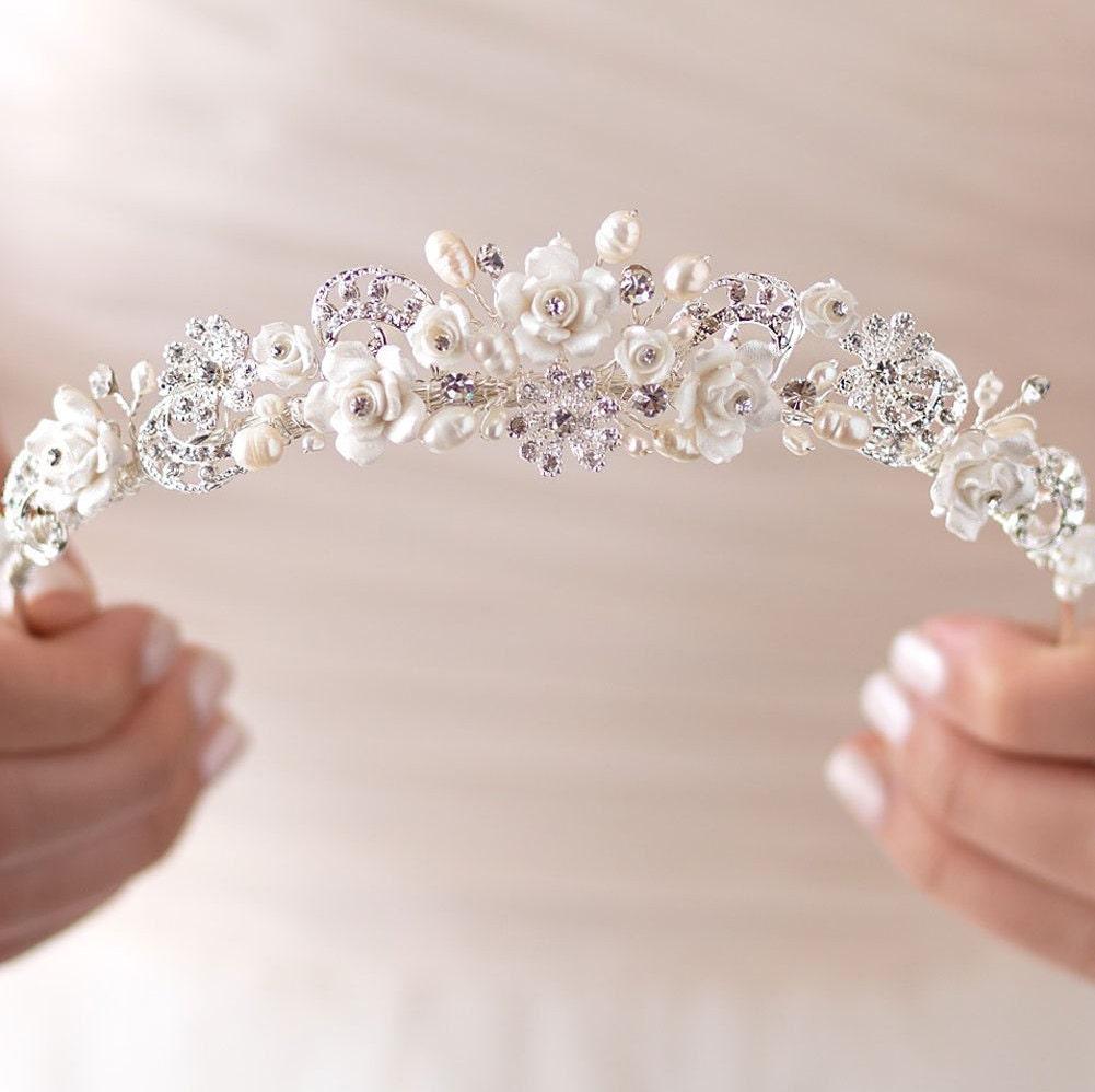 Wedding Crown Hair: Rhinestone & Pearl Wedding Tiara Bridal Hair Accessory Pearl