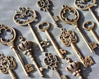 18 im Vintagestil Skeleton Key Sammlung Antik Bronze Alice im Wunderland party, Hochzeit Dekorationen