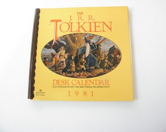 1981 The JRR Tolkien Desk Calender Illustrations by the Brothers Hildebrandt 13 images Calender Never Used Lord of the Rings The Hobbit