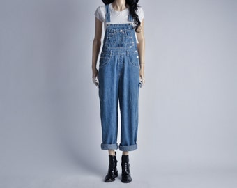 light wash baggy denim jean overalls / s / m