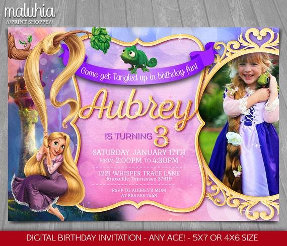 Tangled Invitation Disney Rapunzel Invite Tangled Birthday