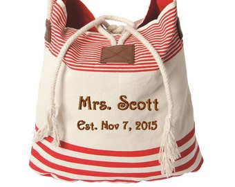 Mrs Tote bag. Anniversay gift, name and wedding date, Canvas Beach Bag, Bachorette gift, monogrammed red striped canvas bag. T1R F38