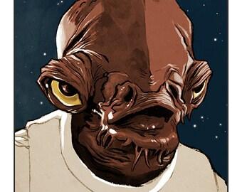 """Star Wars - Return of The Jedi - Admiral Ackbar colour art print 10""""x8"""""""
