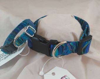 Pet Collars, Dog Collar, Cat Collar, Adjustable Collar, Personalized Gift, Breakaway Collar, Marbling Peacock Dog Collar