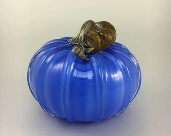 """5"""" Glass Pumpkin by Jonathan Winfisky - Opaque Electric Blue - Hand Blown Glass"""
