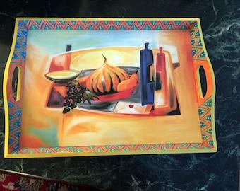 "Hand Painted Bohemian Sunset Orange and Yellow Tray   13.5""wx3""Hx11.5""D  T0016"