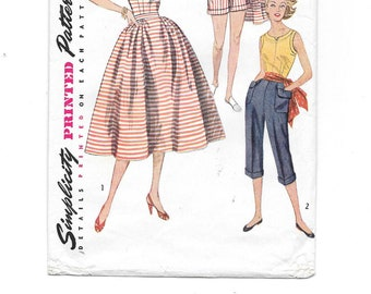 1950s Capri Pants Blouse Skirt Shorts Vintage Sewing Pattern ~ Rockabilly ~ Pedal Pushers Sleeveless Top Full Skirt Shorts ~ Size 12 Bust 30