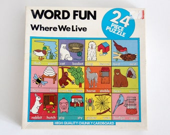 Vintage chunky cardboard jigsaw puzzle WORD FUN Where We Live, a Michael Stanfield product