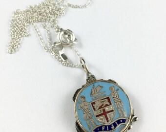 Fiji Necklace, Fiji Jewelry, Fiji Souvenir, Fiji Gift, Fiji Charm, Fiji Pendant, Spoon Necklace, Spoon Jewelry, Fiji Present, Fiji Woman