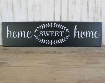 Home Sweet Home Wood Sign Rustic Worn Finish Signs with Sayings for Family Housewarming