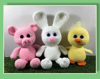 Little Chubbies Pig, Bunny and Duck Amigurumi (PDF pattern only, this is not the finished doll)