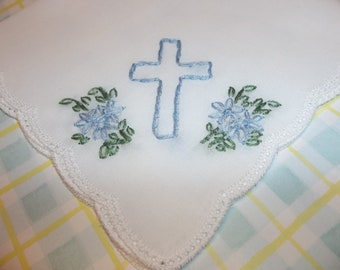 Girls easter gift etsy baptismal gift first communion gift hand embroidery christening baptism handkerchief gift negle Choice Image