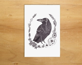 Crow illustration A6 greeting card