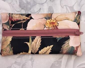 Pencil Case, Makeup Brush Case, Crochet Hook Case, Faux Leather, Floral Gift, Cosmetic Bag, Zipper Bag, Small Bag, Pouch,