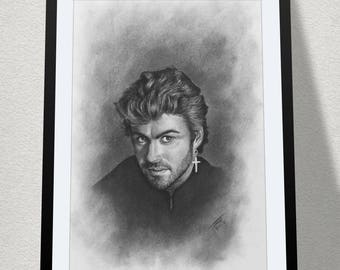 "11.69"" x 16.53"" drawing of George Michael drawn in charcoal on Cartridge paper"