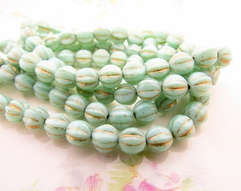 Mint Green & Gold Glass 6mm Melon Round Beads Czech Ribbed Pressed Glass - 25