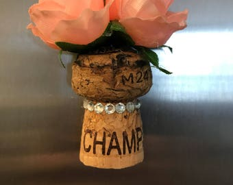 Pink rose full cork magnet