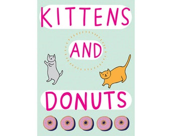 Greeting Card - Kittens And Donuts
