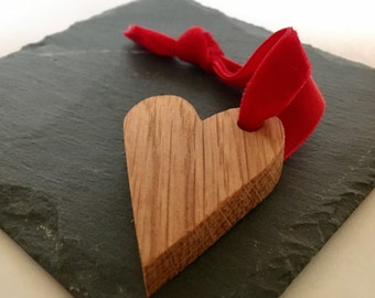 Handcrafted Oak Heart Keepsake with Red Velvet Ribbon