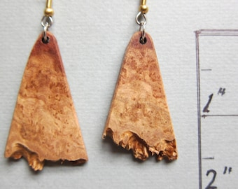 Unique, Raw Edge Mallee Burl, Exotic Wood Earrings, Handmade ExoticWoodJewelryAnd ecofriendly earthy