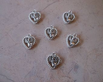 "Charms, cahrms ""heart with Angel"" in silver, engraved edge"