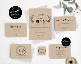 Rustic Wedding Invitation Template, Mr Mrs Wedding Invitation Printable, Rustic Invitation, Cheap Invitation,DIY PDF Instant Download #E020