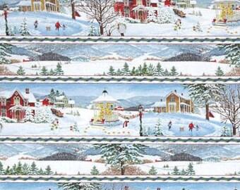 Winter's Eve Stripe Christmas Cotton Fabric Snowman Wilmington Prints    Bfab