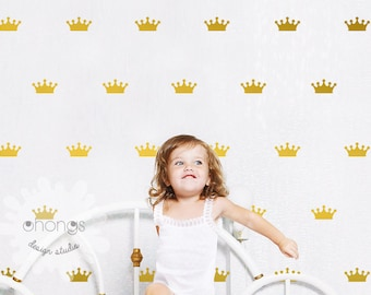 """Crown Wall Decal / Crown Decal / Gold Crown Decal / 2.5"""" Crown sticker / Kids wall decoration / baby room decal"""