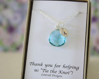 6 Monogram Bridesmaid Necklace Blue, Bridesmaid Gift, Light Blue Quartz, Sterling Silver, Initial Jewelry, Personalized, Jr Bridesmaid Gift
