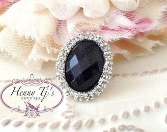 5pc - 25mm Silver Metal Crystal Rhinestone Black Pearl OVAL Buttons  flower Embellishments - wedding / hair / dress / garment accessories