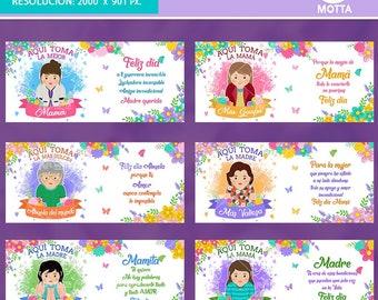 AQUI TOMA MAMA Plantillas Sublimacion Tazas dia de la madre - Para Mamá - Diseños Tazas Madre - Dia de la Madre - Regalos Madre