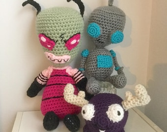 Space Invader Set with Green Alien, Robot, and Purple Moose--FREE shipping