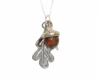 Acorn Leaf Necklace - Grow !  - Sterling Silver with Red Tiger Eye
