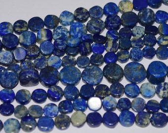 ME-0075 Gorgeous Denim Lapis Lazuli Coin  Gemstone Beads 8-15mm 13 Inch 100% Genuine and Natural Stone