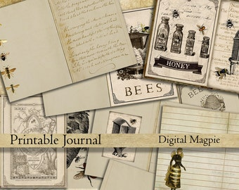 Bees DIY printable journal pages digital paper pack vintage diary old shabby paper backgrounds journaling instant download scrapbook papers