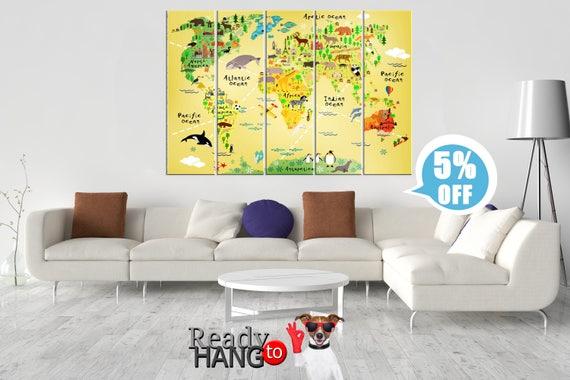 Kids World Map Nursery wall decor Animal world map Art