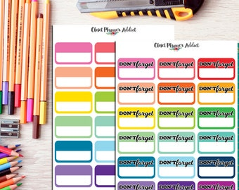 Rainbow Half Boxes Labels Planner Stickers   Weekly Goals   Shit To Adult Today   Important Stuff   Don't Forget   Blank Labels (FP-007)