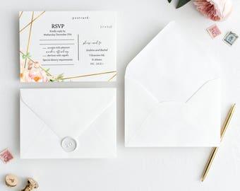 Printable Floral Watercolor Wedding RSVP Postcard, Modern Wedding Invitation, Geometric Wedding Response Card, Gold Wedding  #G727