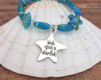 Wish upon a Starfish Bracelet Sea Star Bracelet Beachy Bracelet Beach Jewelry  Beach Bracelet Star Fish Bracelet beachy gift graduation gift