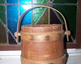 Small Vintage Wooden Firkin Bucket Pail Great For Display AS IS