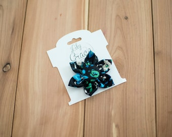 Blue & Green Floral Flower Bow Headband Hair Accessories Nylon Headband Clips Piggie Clips pigtails