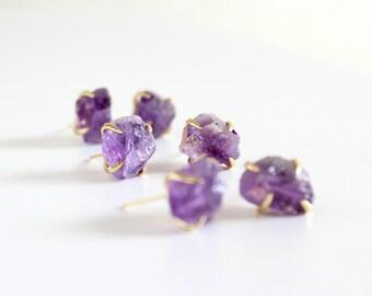 Amethyst earrings - raw amethyst earrings - raw stone studs - amethyst earrings gold - geode earrings - raw crystal earrings - purple stone