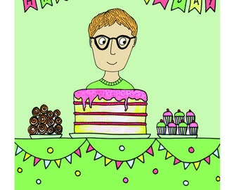 Birthday Boy Max - greetings card reproduced from an original drawing by Susannah Jeffries