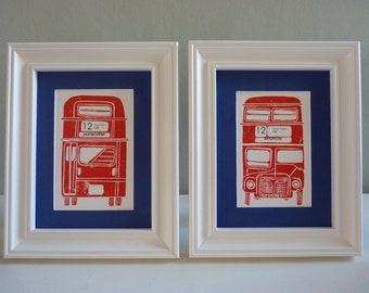 Original Lino Print No12 Bus to Eastbourne & Brighton