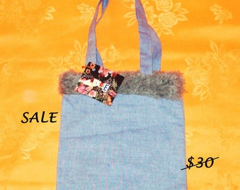 SALE - Silver Fun Fur and Blue Chambray Denim Classic Purse Tote - CLEARANCE